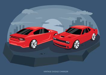 Red Classic Dodge Charger Car Vector Illustration - vector gratuit #431535