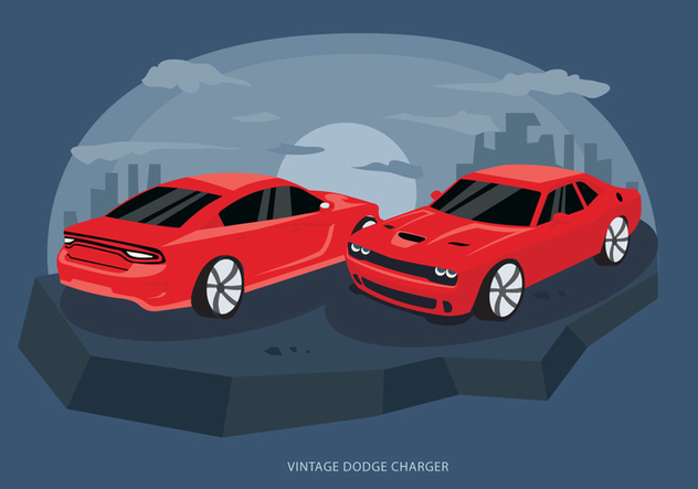 Red Classic Dodge Charger Car Vector Illustration - Free vector #431535