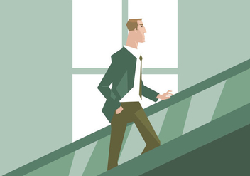 A Businessman in The Escalator Vector - Free vector #431545