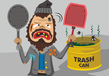 Grungy Guy with Fly Swatter Vector Design - бесплатный vector #431625