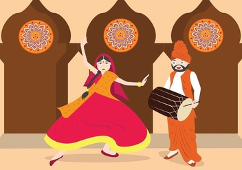 Bhangra traditional dance vector - бесплатный vector #431665