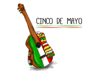 Colorful Mariachi Guitar With Flat Mexican Color - Free vector #431675