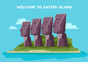 Easter Island Welcome Board Vector Illustration - Free vector #431715