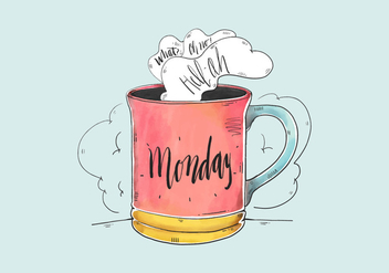 Cute Watercolor Monday Quote With Coffee Cup - Free vector #431725