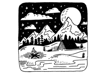 Mountain Camping Badge Vector - Free vector #431735