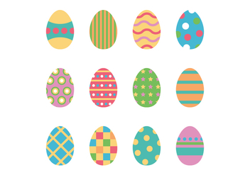 Set Of Colorful Easter Eggs - vector gratuit #431785