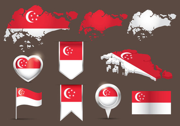 Flag Singapore Map Vector - Free vector #431855
