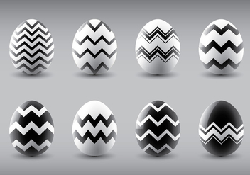 Black and White Vector Easter Eggs - vector gratuit #431865