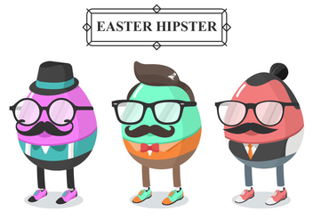 Hipster Easter Egg Vector Character - Free vector #431885