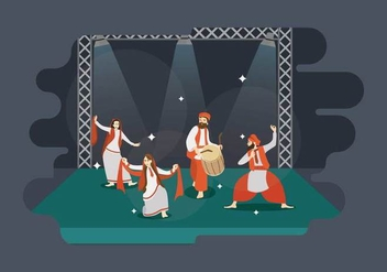 Free Man And Women Performance Bhangra Dance In Stage Illustration - бесплатный vector #432035