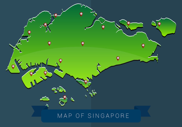 Map of Singapore Vector Illustration - Free vector #432105