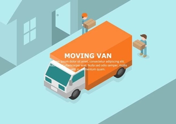 Orange Moving Van Illustration - vector gratuit #432125