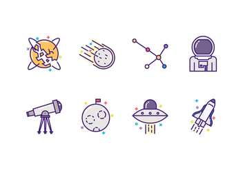 Vector Astronomy Icon Set - vector gratuit #432195