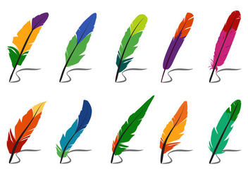 Colorful Feathers and Pluma Vectors - бесплатный vector #432205