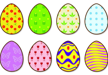 Icons Of Bright Easter Eggs Vectors - Free vector #432295