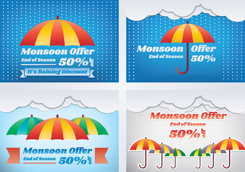 Monsoon Season Sale Banner - vector #432345 gratis