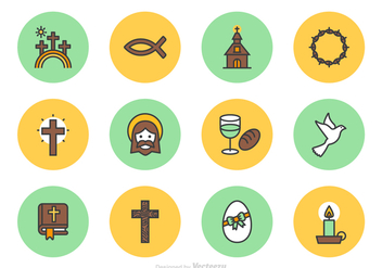 Good Friday And Easter Vector Line Icons - бесплатный vector #432385