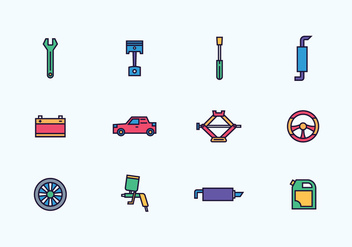 Pack of Automobile Repair Icons - Free vector #432465