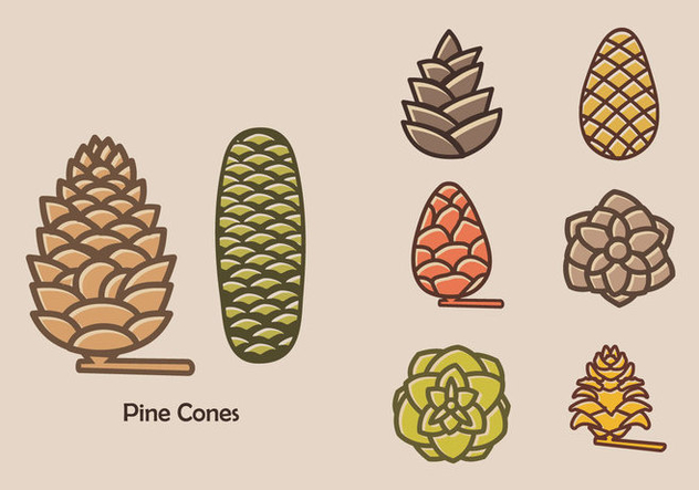 Colorful Pine Cones Vector Icon - бесплатный vector #432485