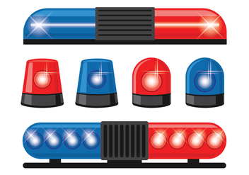 Police Lights Vector Icons Set - Free vector #432525