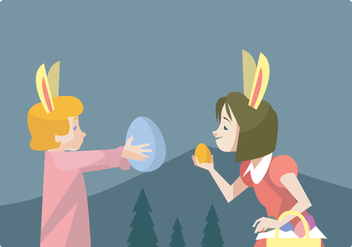 Two Little Girls Hunting Easter Eggs Vector - бесплатный vector #432535