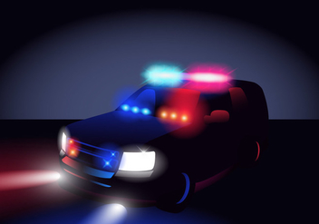 Police Lights In The Dark - vector gratuit #432555
