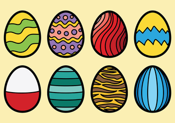 Colored Chocolate Easter Eggs Icons Vector - Free vector #432585