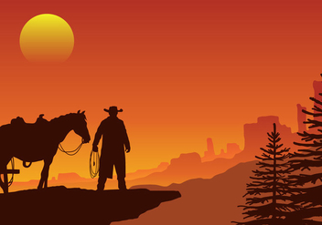 Gaucho in a Wild West Sunset Landscape Vector - Free vector #432615