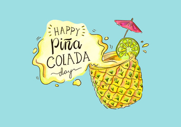 Cute Piña Colada Day Vector Background - Kostenloses vector #432645