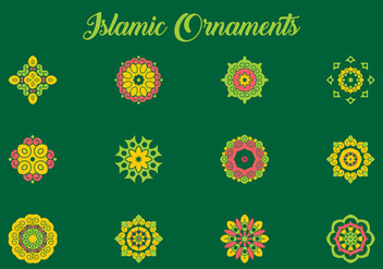Green and Coral Arabic Ornament Vectors - Free vector #432675