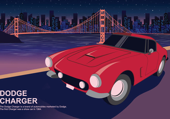 Red Dodge Charger Car At City's Lights Vector Illustration - Free vector #432805