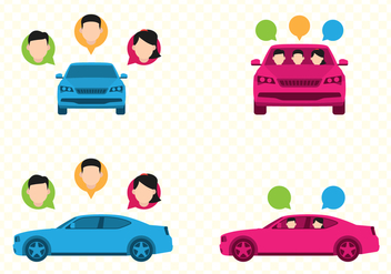 Car Sharing Illustration Sets - Free vector #432855