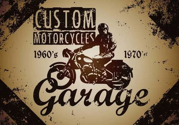 Custom Motorcycle Vintage Illustration Vector - vector gratuit #433085