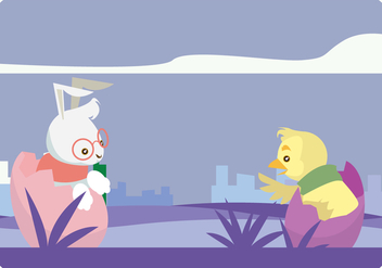 Hipster Bunny And Chick Vector - vector gratuit #433155