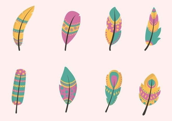 Flat Feather Vectors - бесплатный vector #433205