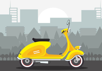 Beautiful Yellow Lambretta Scooter Vector - Free vector #433225