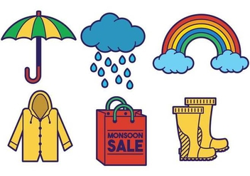 Monsoon icon vector set - vector #433245 gratis