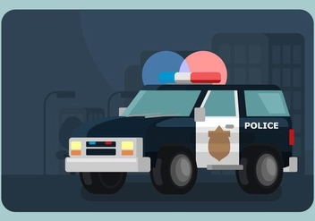 Lighted Police Car Illustration - vector gratuit #433265