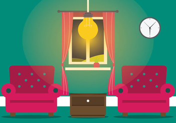 Warm Living Room With Modern Lamp Vector - Free vector #433305