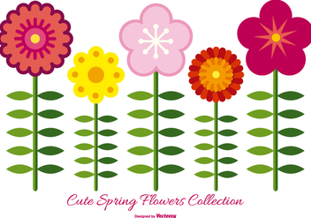 Cute Spring Flower Collection - vector gratuit #433365