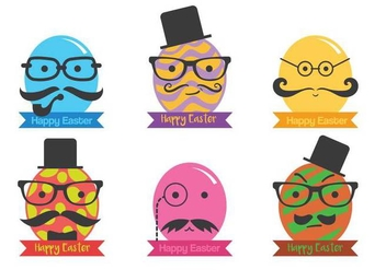 Hipster easter egg vector set - Free vector #433395