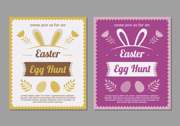 Purple and Yellow Easter Egg Hunt Posters - vector gratuit #433435