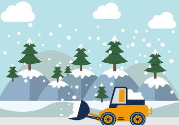 Mountainous Snow Plow Vectors Illustration - Free vector #433465