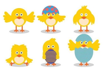 Easter Chick Cute Vector Illustration Set - vector gratuit #433475