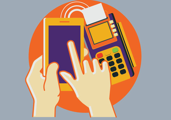 Pos Terminal Confirms the Payment by Smartphone - vector gratuit #433535