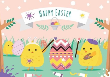 Painting Easter Eggs Vector - Free vector #433605