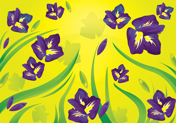Iris Flower Pattern Background - Free vector #433625