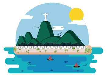 Copacabana Beach Vector Illustration - бесплатный vector #433645
