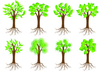 Icon Of Tree With Roots - Free vector #433655