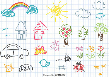 Children Drawing Vector - Free vector #433675